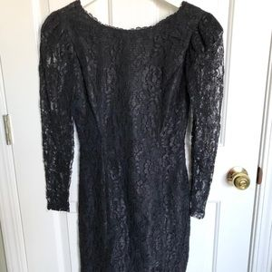 Vintage Black Long Sleeve Lace Dress